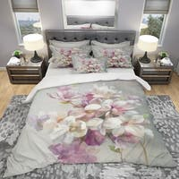 Designart 'Pink Magnolia Flowers' Shabby Bedding Set - Duvet Cover & Shams