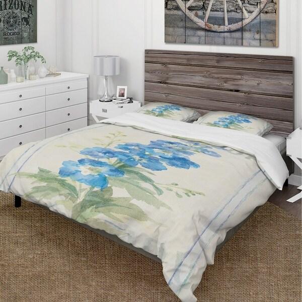 Designart 'Floursack Florals VII' Cottage Bedding Set - Duvet Cover & Shams