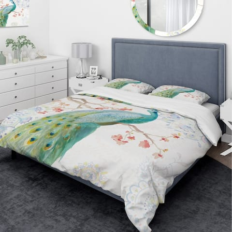 Designart 'peacocks Watercolor I' Traditional Bedding Set - Duvet Cover & Shams - Multi-color