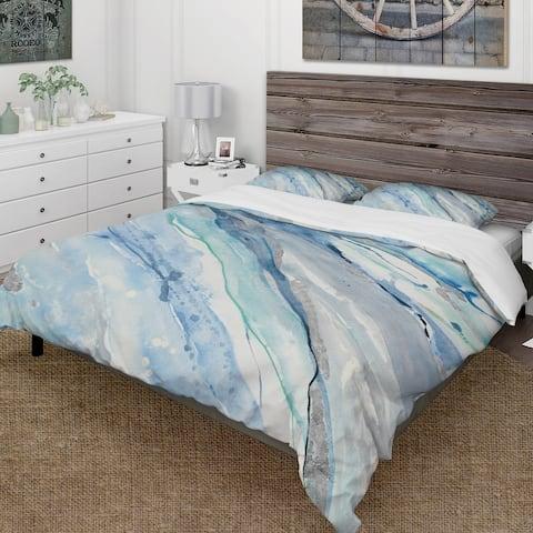 Designart 'Blue Silver Spring II' Farmhouse Bedding Set - Duvet Cover & Shams