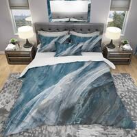 Designart 'Splash Blue Indigo' Geometric Bedding Set - Duvet Cover & Shams