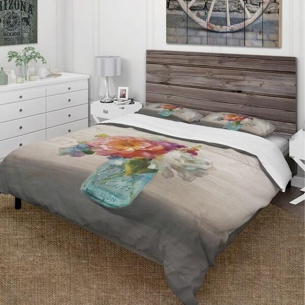 Designart 'French Cottage Bouquet I Mothers' Cottage Bedding Set - Duvet Cover & Shams