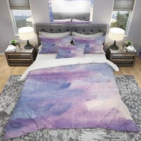 Designart 'Watercolor Purple Haze II' Geometric Bedding Set - Duvet Cover & Shams