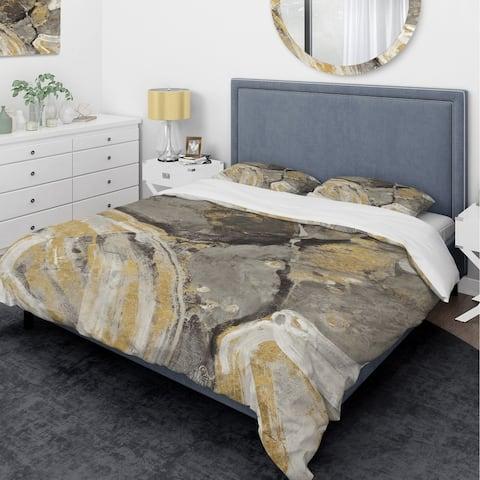 Designart 'Glam Phoenix Neutral' Glam Bedding Set - Duvet Cover & Shams