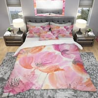 Designart 'Shabby Flower III' Shabby Bedding Set - Duvet Cover & Shams