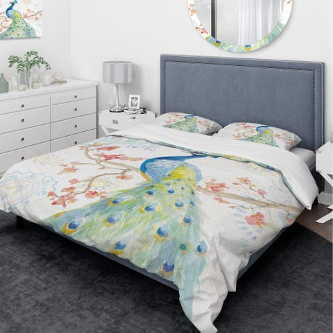 Designart 'peacocks Watercolor II' Traditional Bedding Set - Duvet Cover & Shams - Multi-color