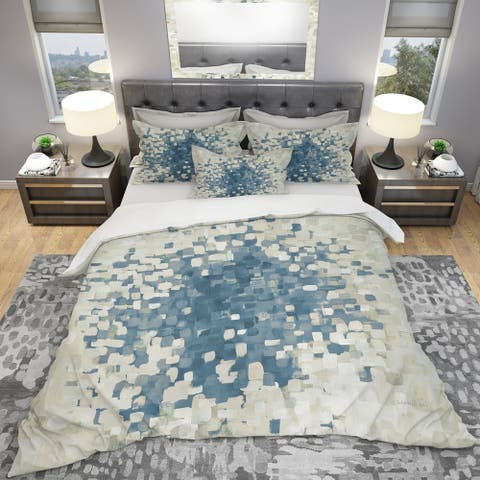 Designart 'Geometric Blue Spots' Geometric Bedding Set - Duvet Cover & Shams