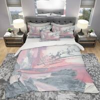 Designart 'Durty Shabby Pink Blush I' Shabby Bedding Set - Duvet Cover & Shams