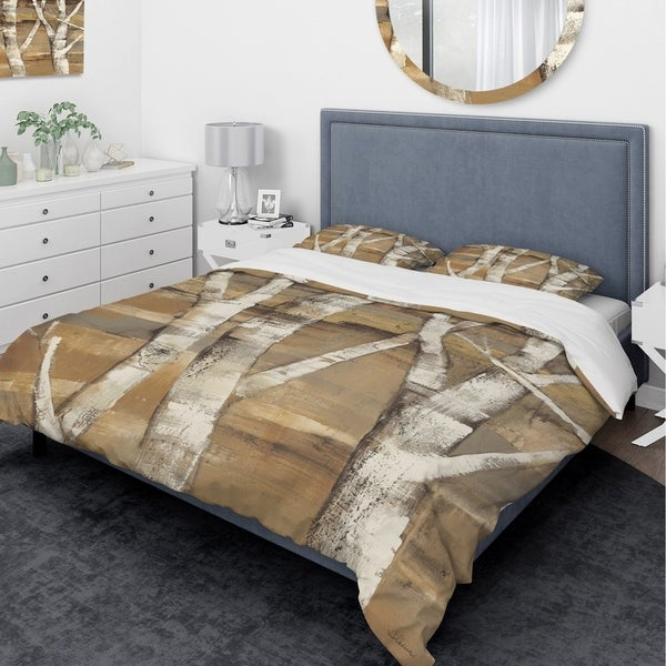 Designart 'Natural Birch Forest II' Traditional Bedding Set - Duvet Cover & Shams