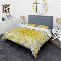 Designart 'Glam Yellow Explosion Blocks' Glam Bedding Set - Duvet Cover & Shams