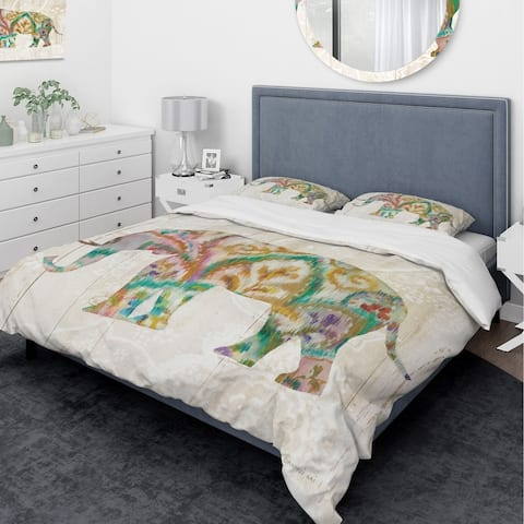 Designart 'Boho Paisley Elephant II vII' Traditional Bedding Set - Duvet Cover & Shams - Multi-color