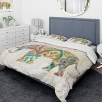 Designart 'Boho Paisley Elephant II vII' Traditional Bedding Set - Duvet Cover & Shams - Multi-color