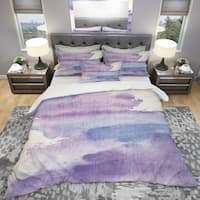 Designart 'Watercolor Purple Haze I' Geometric Bedding Set - Duvet Cover & Shams
