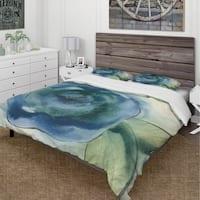 Designart 'Blue Floral Poppies I' Cottage Bedding Set - Duvet Cover & Shams