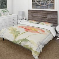 Designart 'Floursack Florals IV' Cottage Bedding Set - Duvet Cover & Shams