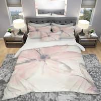 Designart 'Pink Shabby Floral II' Shabby Bedding Set - Duvet Cover & Shams