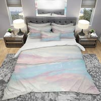 Designart 'Metallic Shabby Pink I' Shabby Bedding Set - Duvet Cover & Shams