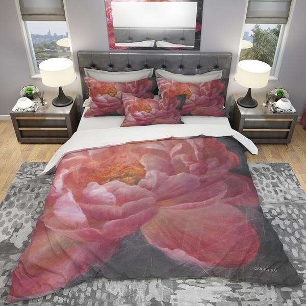 Designart 'Vivid Pink Peonies I' Shabby Bedding Set - Duvet Cover & Shams