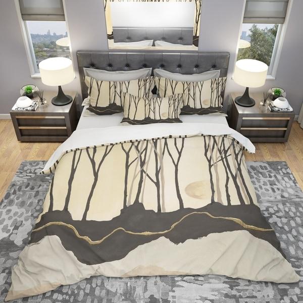Designart 'Geometric Forest' Geometric Bedding Set - Duvet Cover & Shams