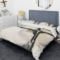 Designart 'Creamy Tan Form I' Glam Bedding Set - Duvet Cover & Shams
