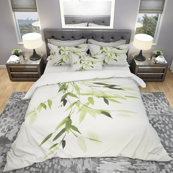 Designart 'Simplist Bamboo Leaves I' Cottage Bedding Set - Duvet Cover & Shams