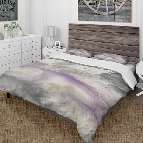 Designart 'Watercolor Minimal Purple Tones I' Cottage Bedding Set - Duvet Cover & Shams