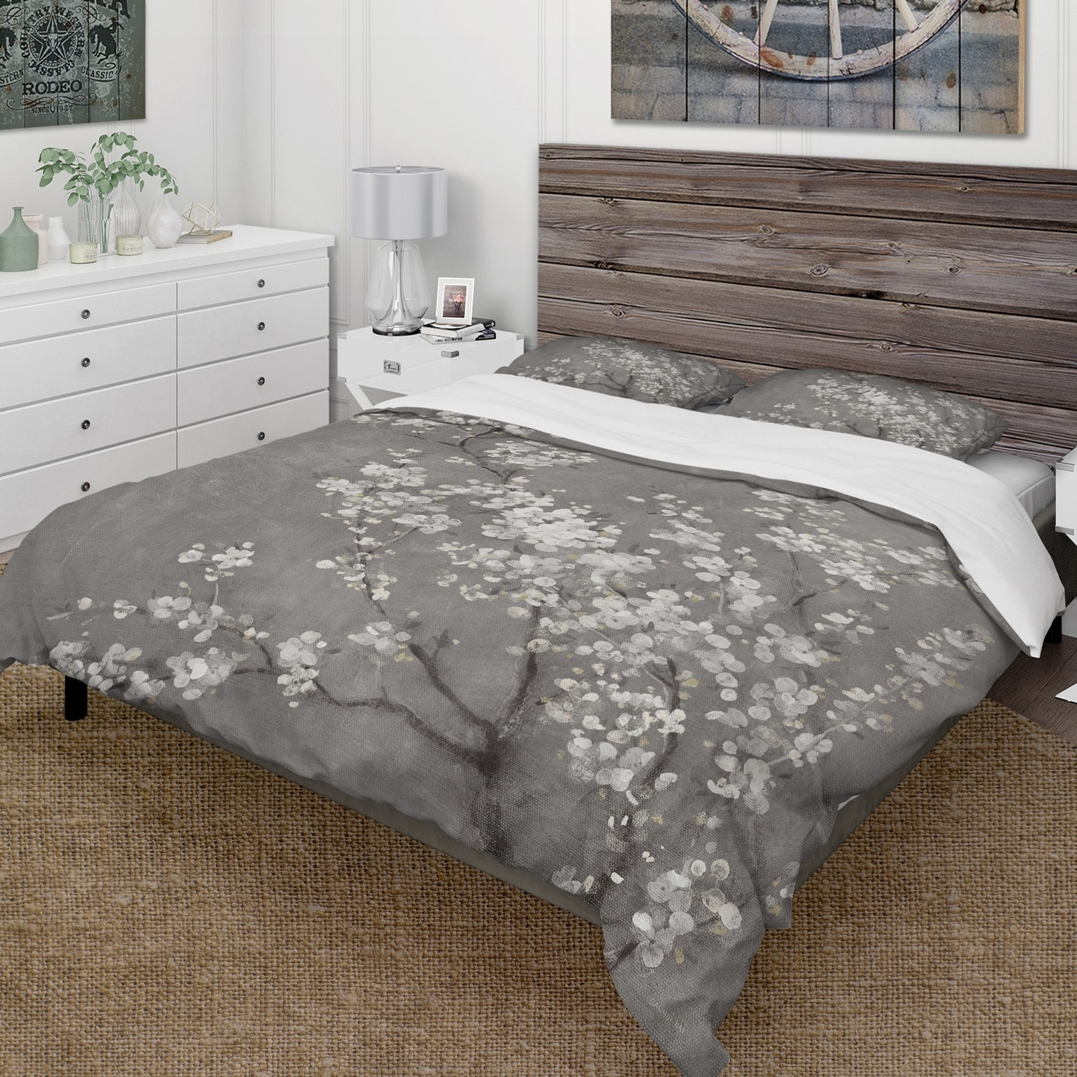 Designart White Cherry Blossoms Ii Farmhouse Bedding Set Duvet Cover Shams On Sale Overstock 25971443