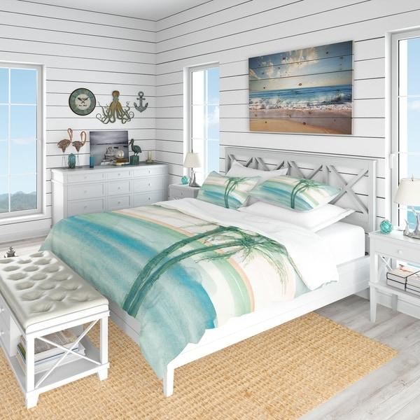Designart 'Peaceful Dusk II Tropical' Coastal Bedding Set - Duvet Cover & Shams