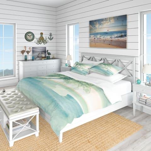 Designart 'Peaceful Dusk I Tropical' Coastal Bedding Set - Duvet Cover & Shams