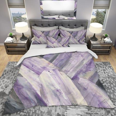 Designart 'Geometric Purple Glacier' Geometric Bedding Set - Duvet Cover & Shams