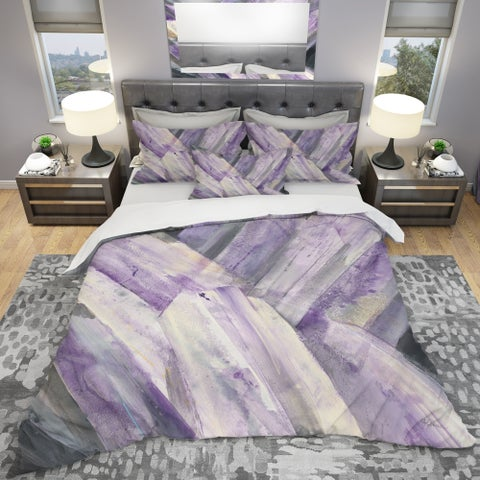 Designart 'Geometric Purple Glacier' Geometric Bedding Set - Duvet Cover & Shams