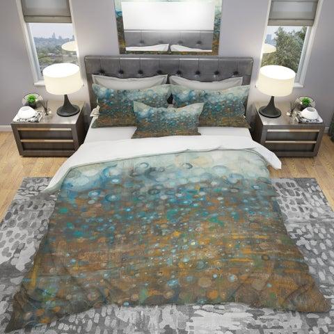 Designart 'Blue and Bronze Dots' Geometric Bedding Set - Duvet Cover & Shams