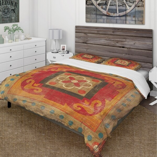 Designart 'Moroccan Orange Tiles Collage II' Cottage Bedding Set - Duvet Cover & Shams