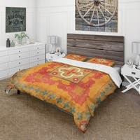 Designart 'Moroccan Orange Tiles Collage II' Cottage Bedding Set - Duvet Cover & Shams