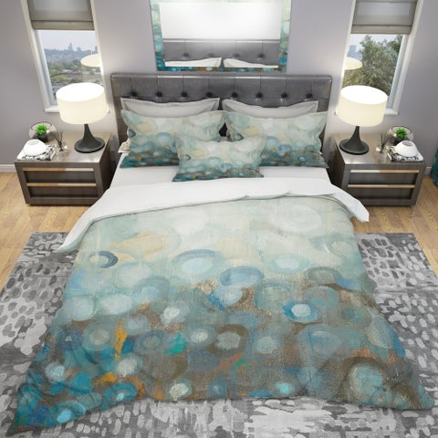 Designart 'Blue and Bronze Dots on Glass II' Geometric Bedding Set - Duvet Cover & Shams