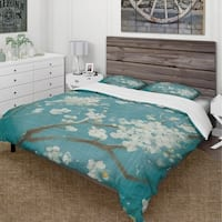Designart 'Blue Cherry Blossoms II' Cottage Bedding Set - Duvet Cover & Shams