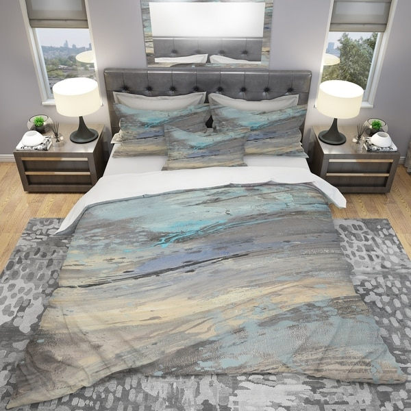 Designart 'Rock Teal Panel I' Geometric Bedding Set - Duvet Cover & Shams. Opens flyout.