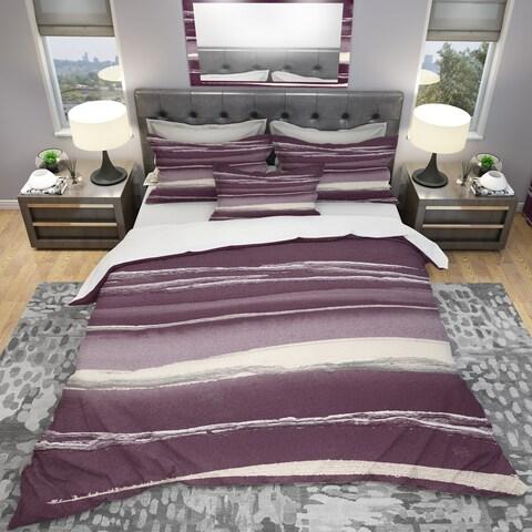 Designart 'Shabby Watercolor on Purple IV' Shabby Bedding Set - Duvet Cover & Shams