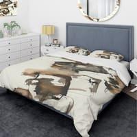 Designart 'Gold Glam Squares II' Glam Bedding Set - Duvet Cover & Shams