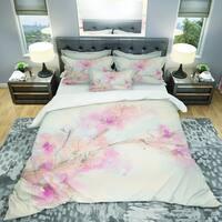 Designart 'Pink Blossoms Branch' Shabby Bedding Set - Duvet Cover & Shams