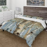 Designart 'White Birch Forest II' Farmhouse Bedding Set - Duvet Cover & Shams