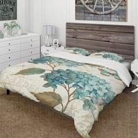 Designart 'butterfly Blue Garden I' Cottage Bedding Set - Duvet Cover & Shams