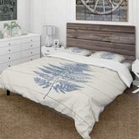 Designart 'Blue Fern Print on wood I' Cottage Bedding Set - Duvet Cover & Shams