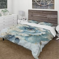Designart 'Indigold Watercolor Flower II' Cottage Bedding Set - Duvet Cover & Shams