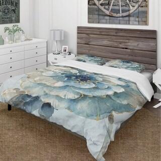 Designart 'Indigold Watercolor Flower II' Cottage Bedding Set - Duvet Cover & Shams
