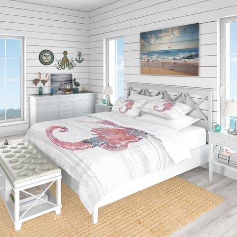 Designart 'Pink seahorses Ocean Life' Coastal Bedding Set - Duvet Cover & Shams