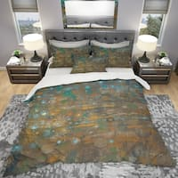 Designart 'Blue and Bronze Dots on Glass IV' Geometric Bedding Set - Duvet Cover & Shams