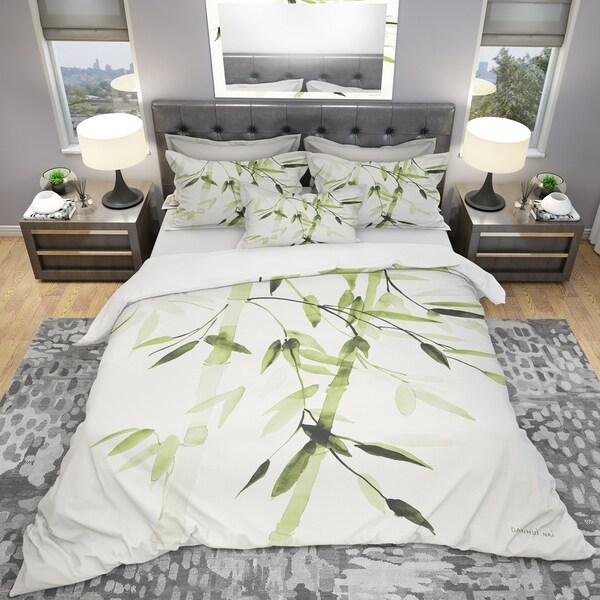 Designart 'Simplist Bamboo Leaves II' Cottage Bedding Set - Duvet Cover & Shams