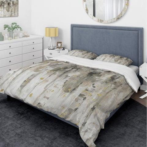 Designart 'The Modern Grey Forest IV' Glam Bedding Set - Duvet Cover & Shams