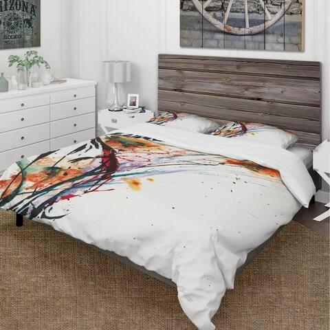 Designart 'Abstract Orange Flowers' Cottage Bedding Set - Duvet Cover & Shams - Multi-color